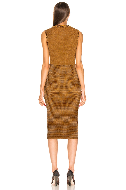 Image 3 of Victoria Beckham Sleeveless Crewneck Dress in Amber & Navy