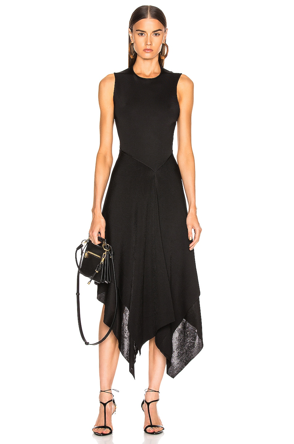 Image 1 of Victoria Beckham Cross Back Asymmetric Midi Dress in Black