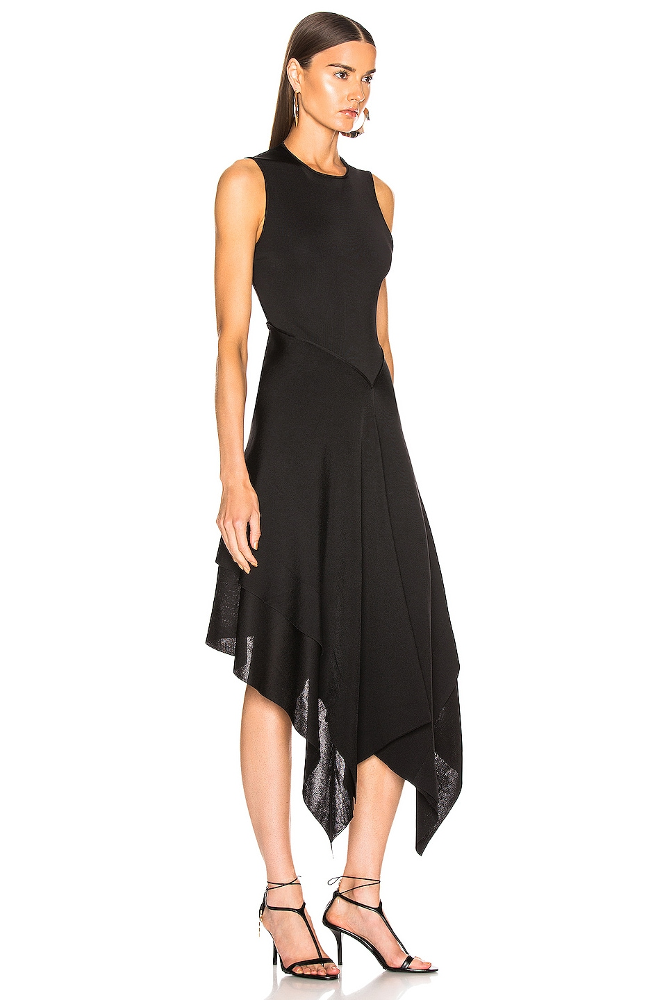 Image 2 of Victoria Beckham Cross Back Asymmetric Midi Dress in Black