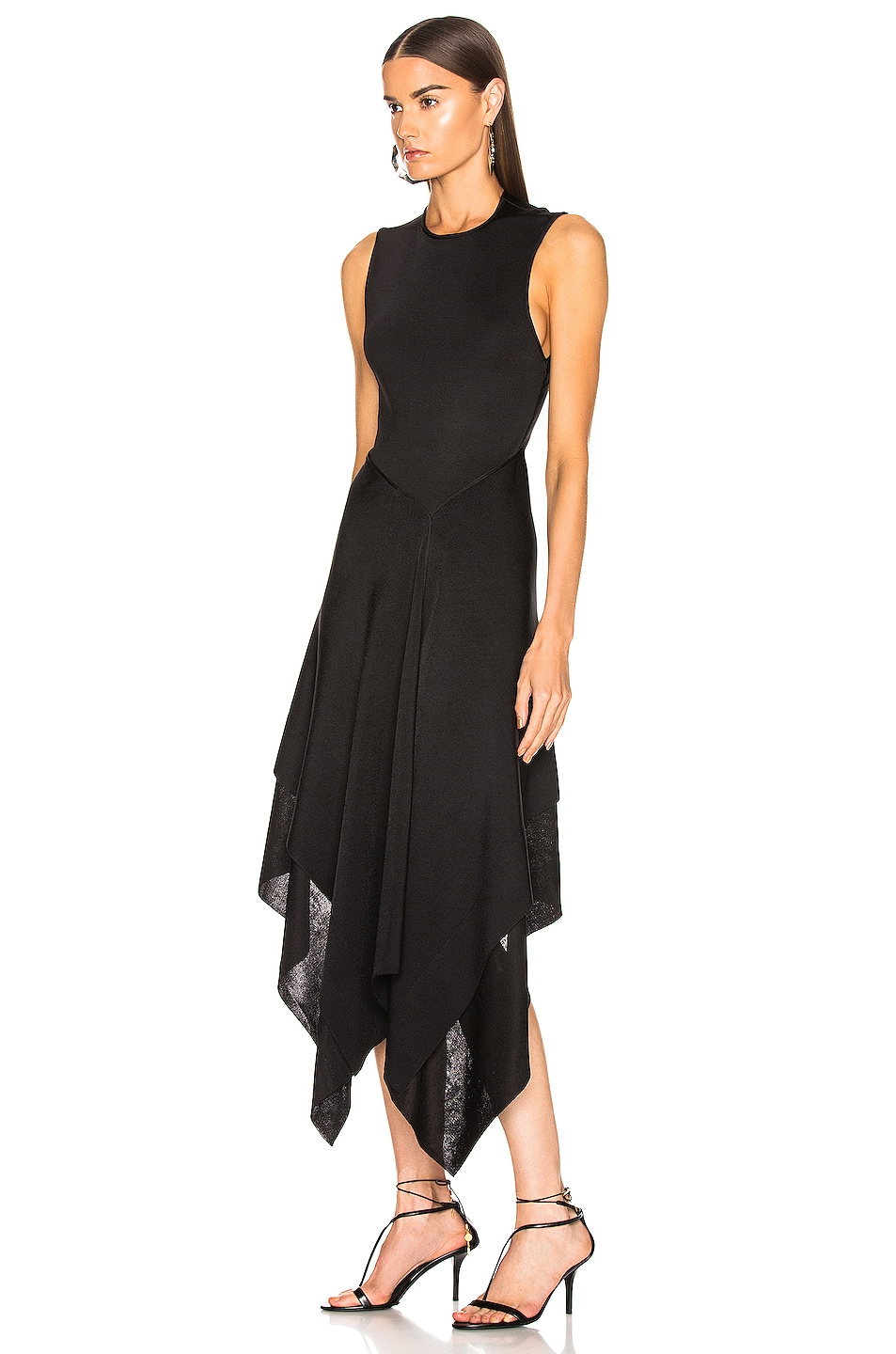 Image 3 of Victoria Beckham Cross Back Asymmetric Midi Dress in Black