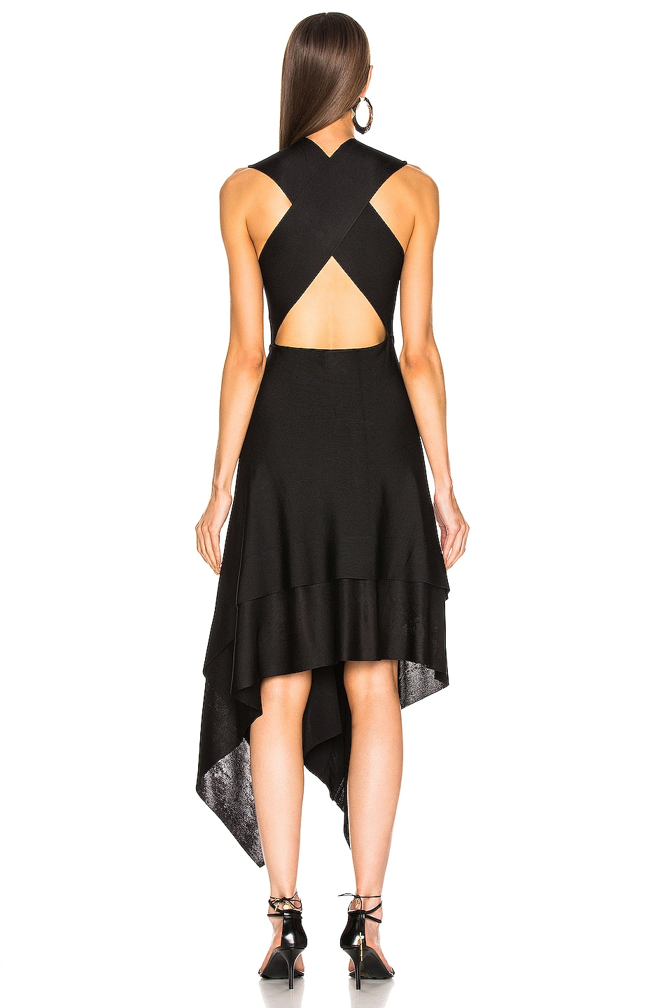 Image 4 of Victoria Beckham Cross Back Asymmetric Midi Dress in Black