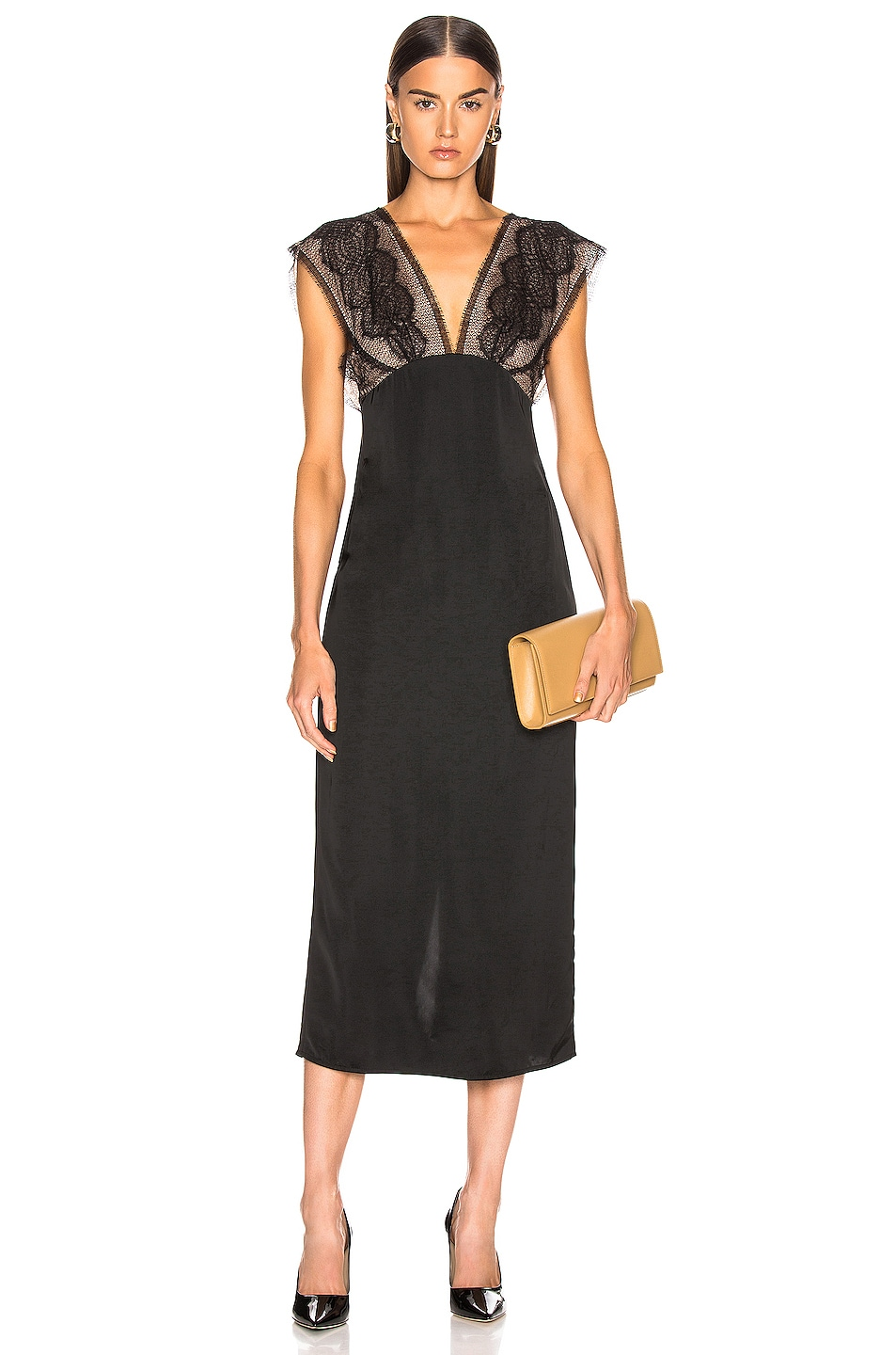 Image 1 of Victoria Beckham Lace Tabbard Midi Dress in Black