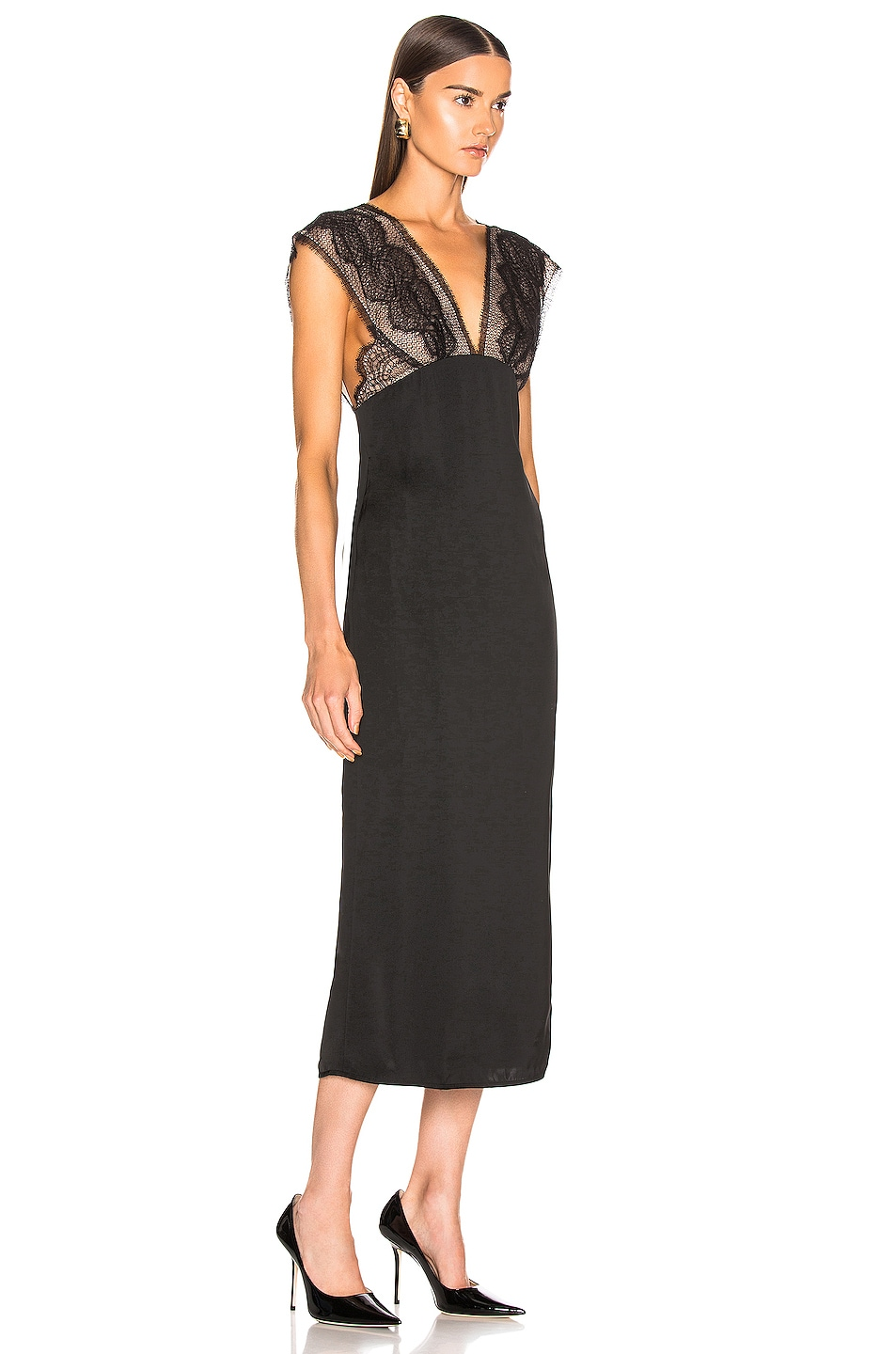 Image 2 of Victoria Beckham Lace Tabbard Midi Dress in Black