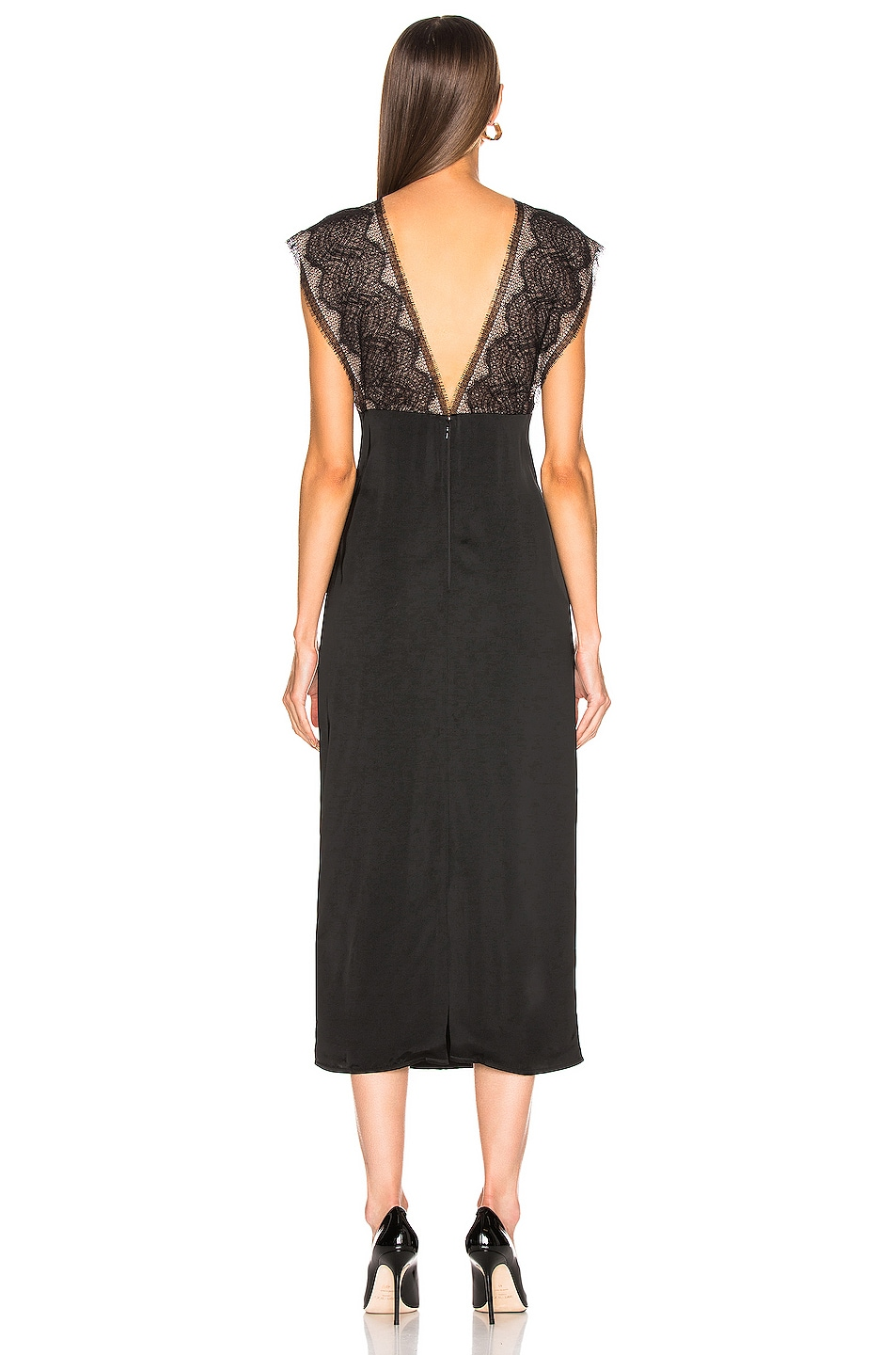 Image 3 of Victoria Beckham Lace Tabbard Midi Dress in Black