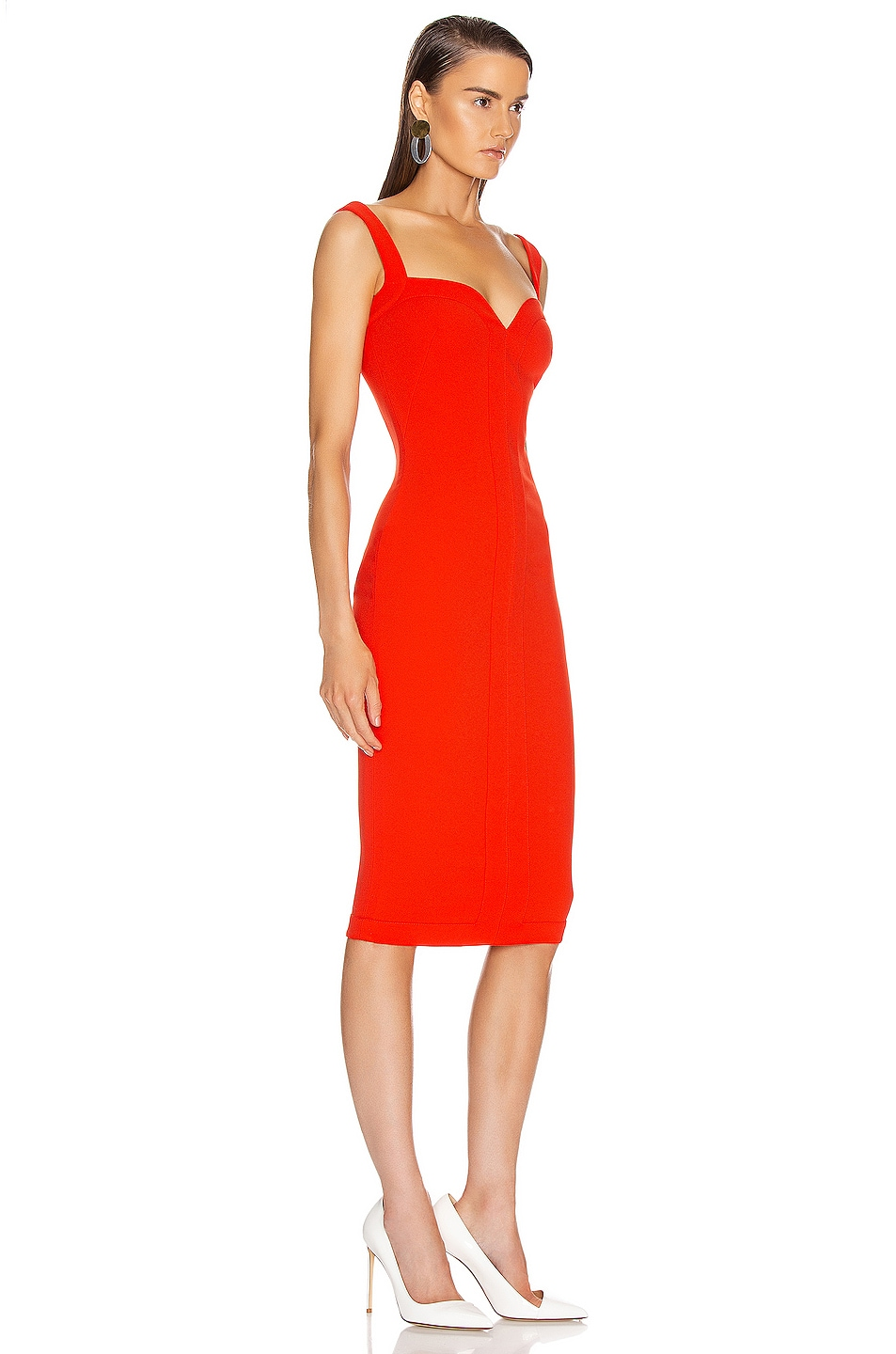 Image 2 of Victoria Beckham Cami Fitted Dress in Tomato