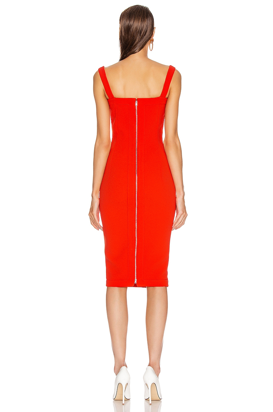Image 3 of Victoria Beckham Cami Fitted Dress in Tomato
