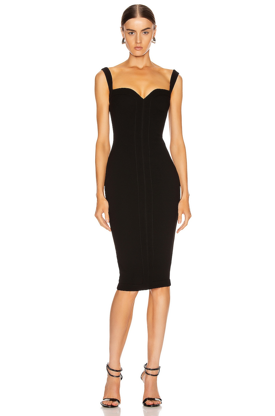 Image 1 of Victoria Beckham Cami Fitted Dress in Black