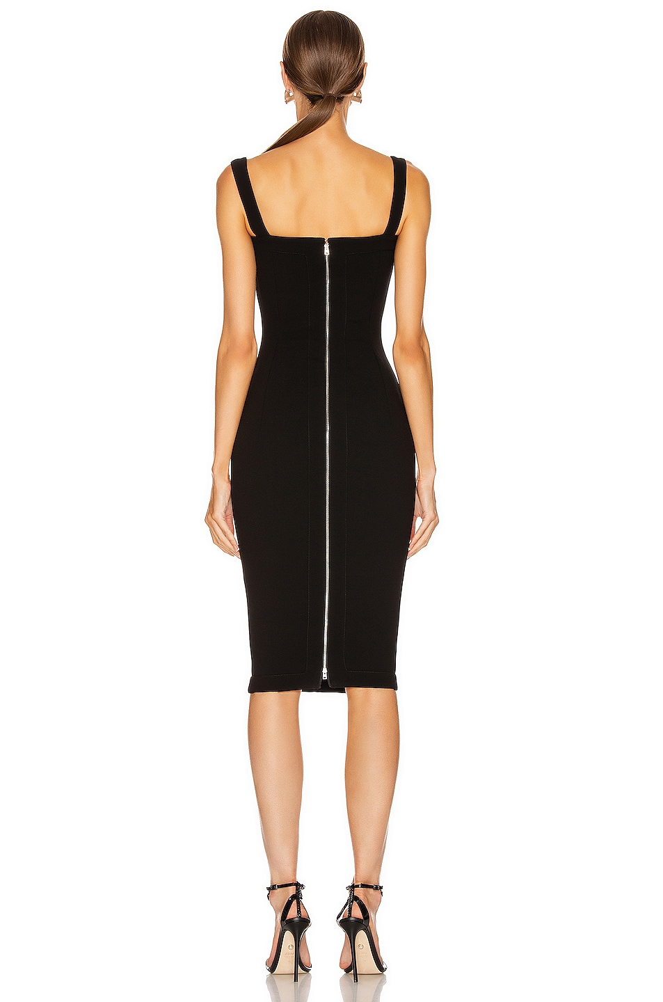 Image 3 of Victoria Beckham Cami Fitted Dress in Black