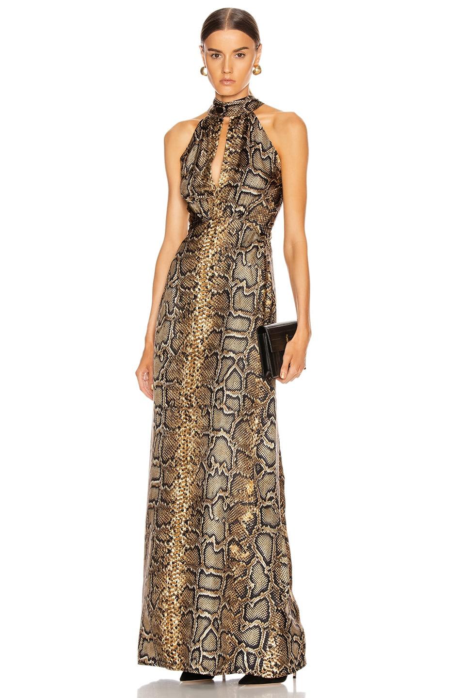 Image 1 of Victoria Beckham Halter Neck Dress in Khaki