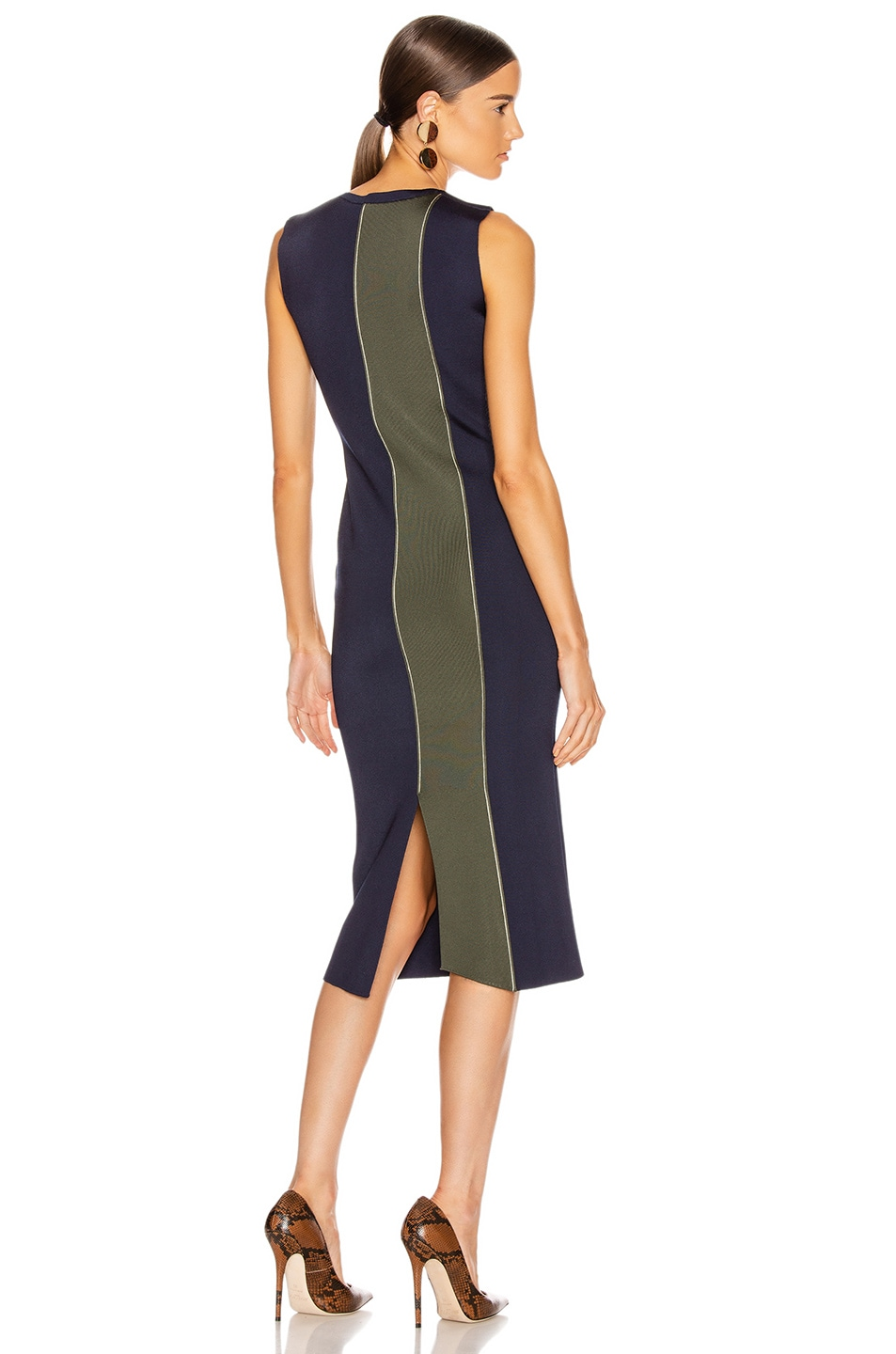 Image 1 of Victoria Beckham Colorblock Sleeveless Fitted Dress in Navy & Khaki