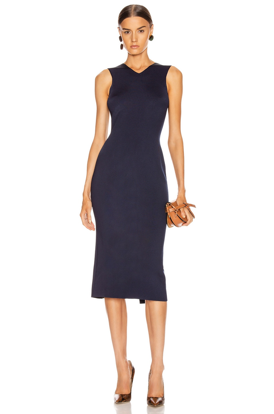 Image 2 of Victoria Beckham Colorblock Sleeveless Fitted Dress in Navy & Khaki