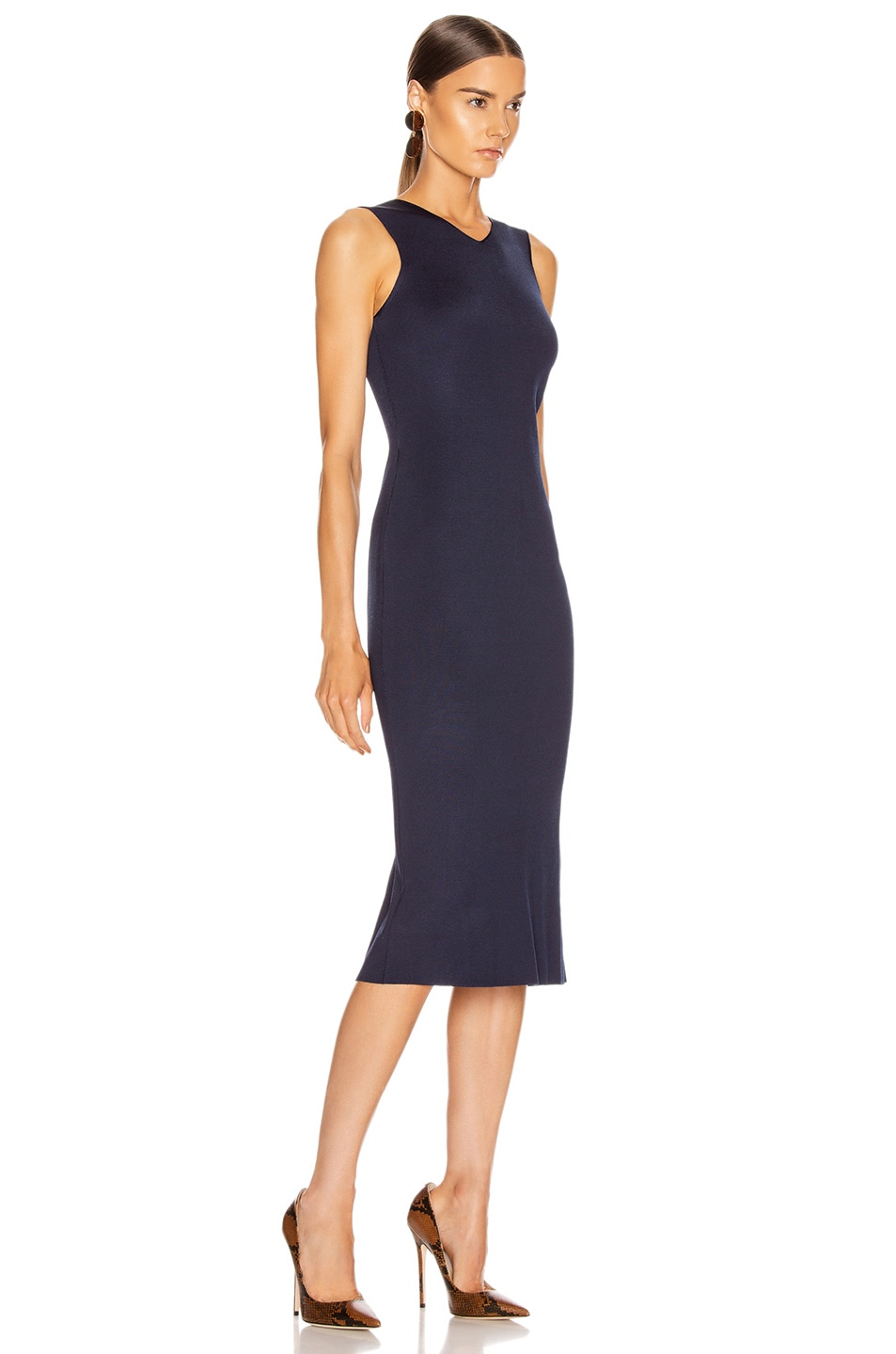 Image 3 of Victoria Beckham Colorblock Sleeveless Fitted Dress in Navy & Khaki
