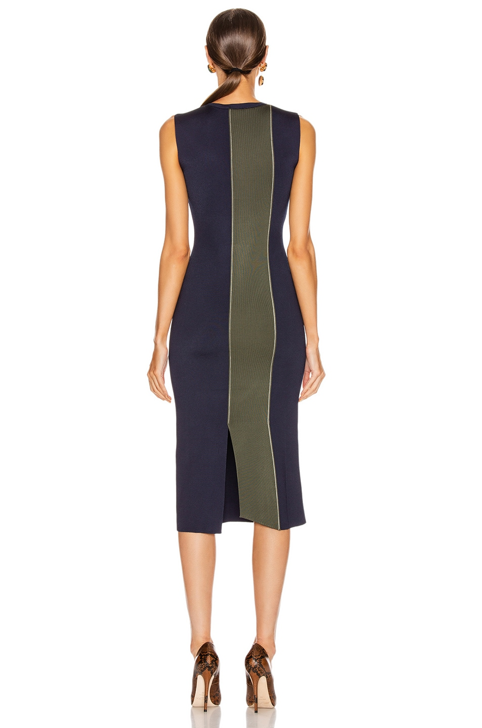Image 4 of Victoria Beckham Colorblock Sleeveless Fitted Dress in Navy & Khaki