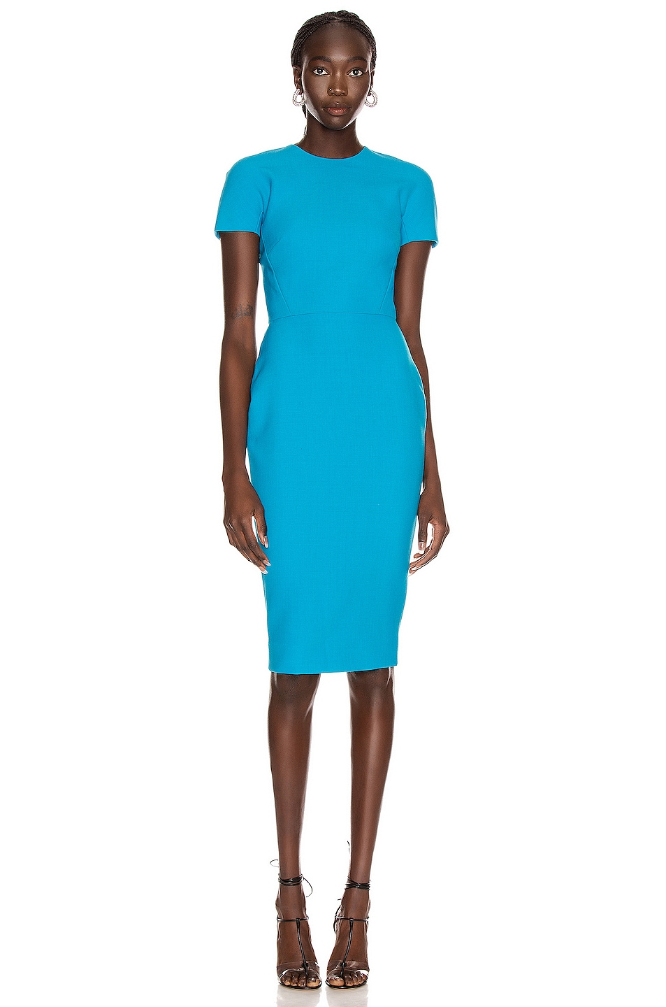Image 1 of Victoria Beckham T Shirt Fitted Dress in Turquoise