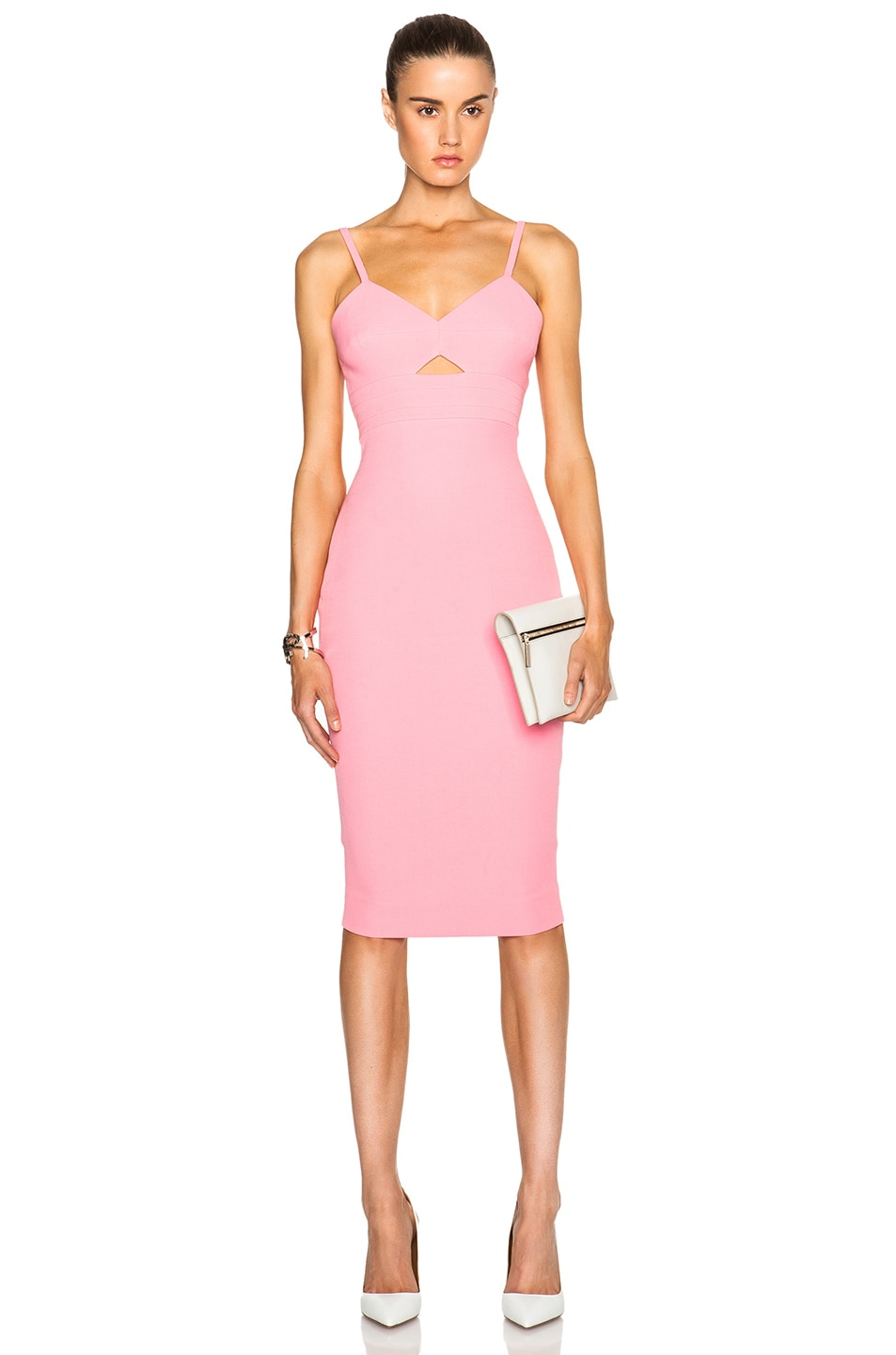 Victoria Beckham Cami Cut Out Fitted Dress in New Blush | FWRD