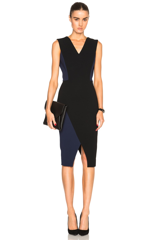 044f408f5596 Image 1 of Victoria Beckham Matte Crepe Deep V Fitted Dress in Black   Navy