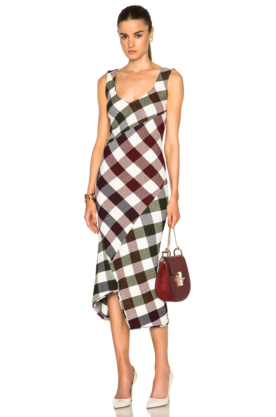 Image 1 of Victoria Beckham Bounce Gingham Open Back Midi Dress in Multi