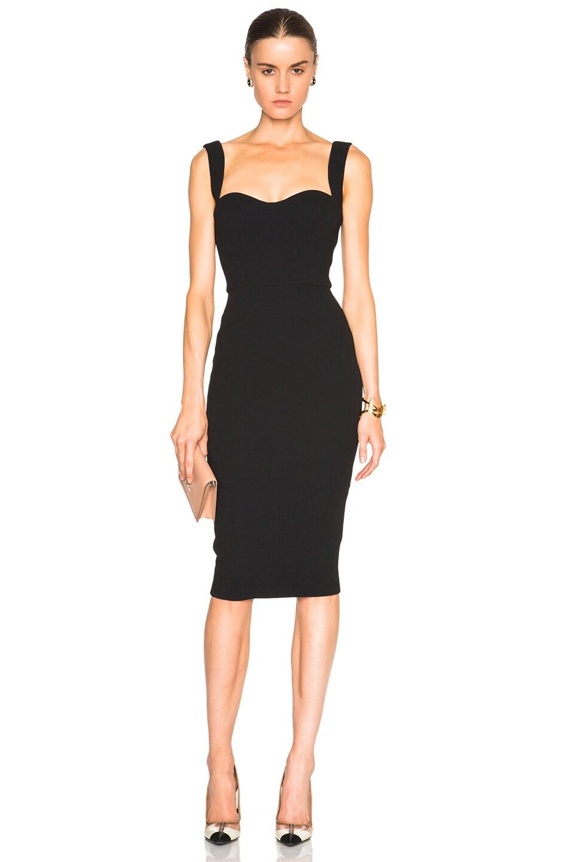 Image 1 of Victoria Beckham Matte Crepe Curve Dress in Black