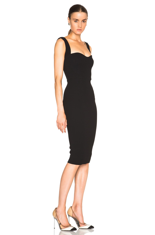 Image 3 of Victoria Beckham Matte Crepe Curve Dress in Black