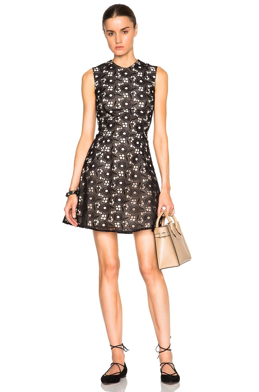 e944687dd181d Image 1 of Victoria Beckham Floral Lace Guipure Hexagon Flare Mini Dress in  Black
