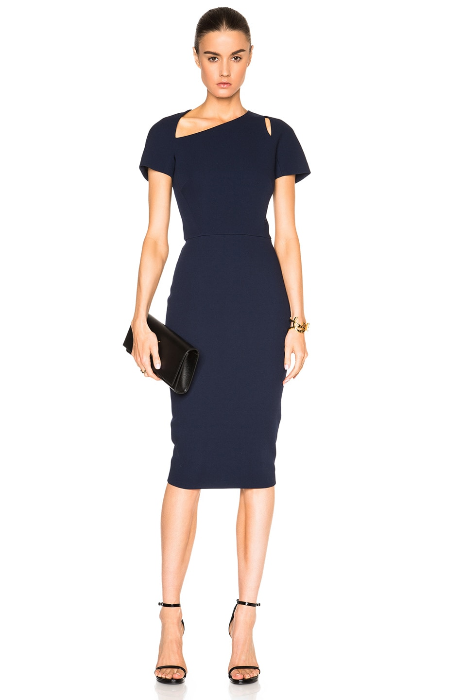 118f7ffec3b1c8 Image 1 of Victoria Beckham Light Matte Crepe Cap Sleeve Cut Out Dress in  Navy