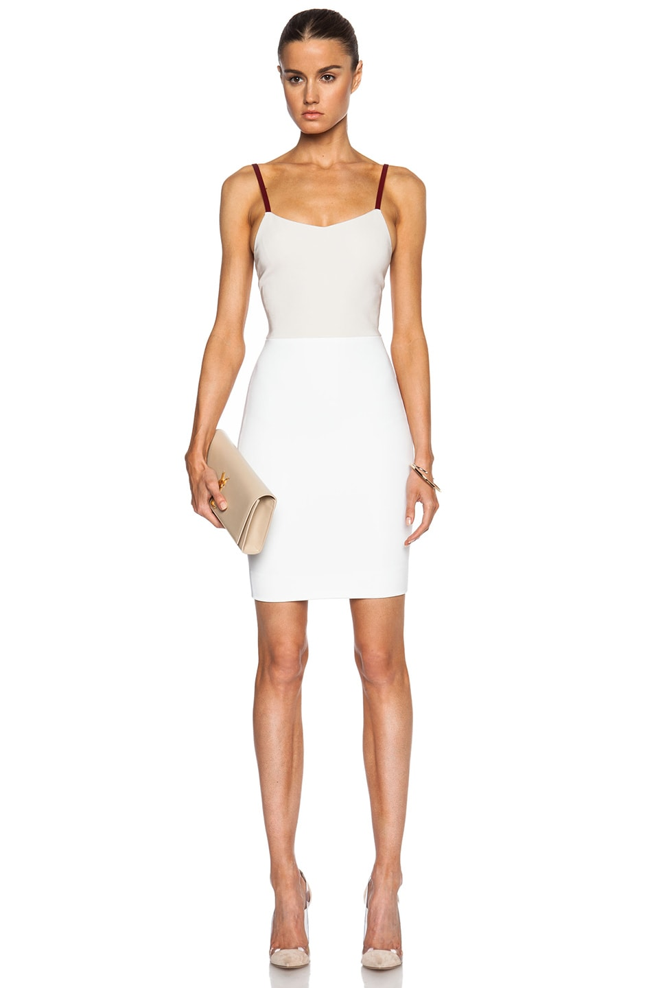 Image 1 of Victoria Beckham Cami Mini Dress in Blonde, Burgundy & White