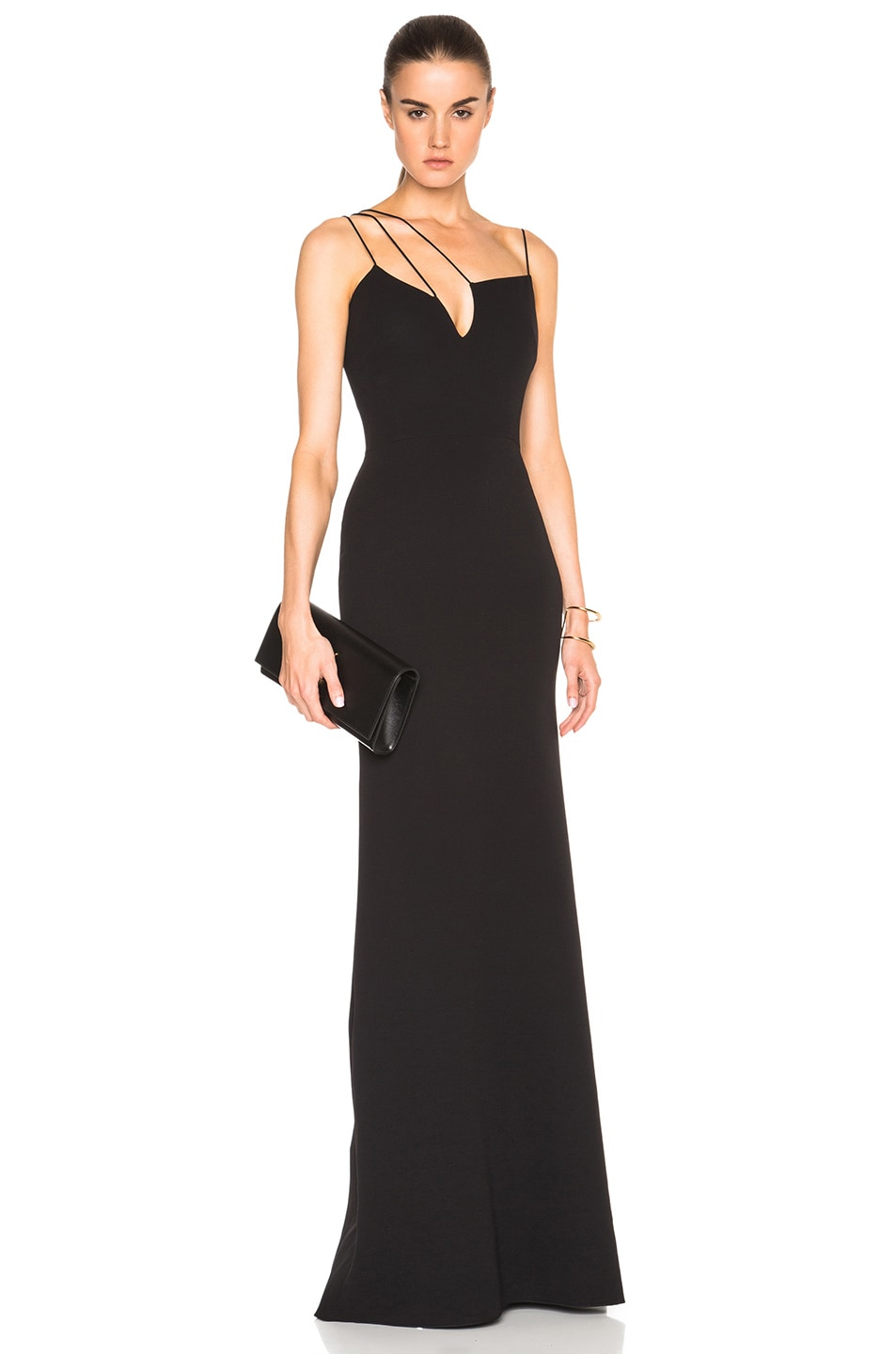 Image 1 of Victoria Beckham Double Crepe Cut Out Gown in Black