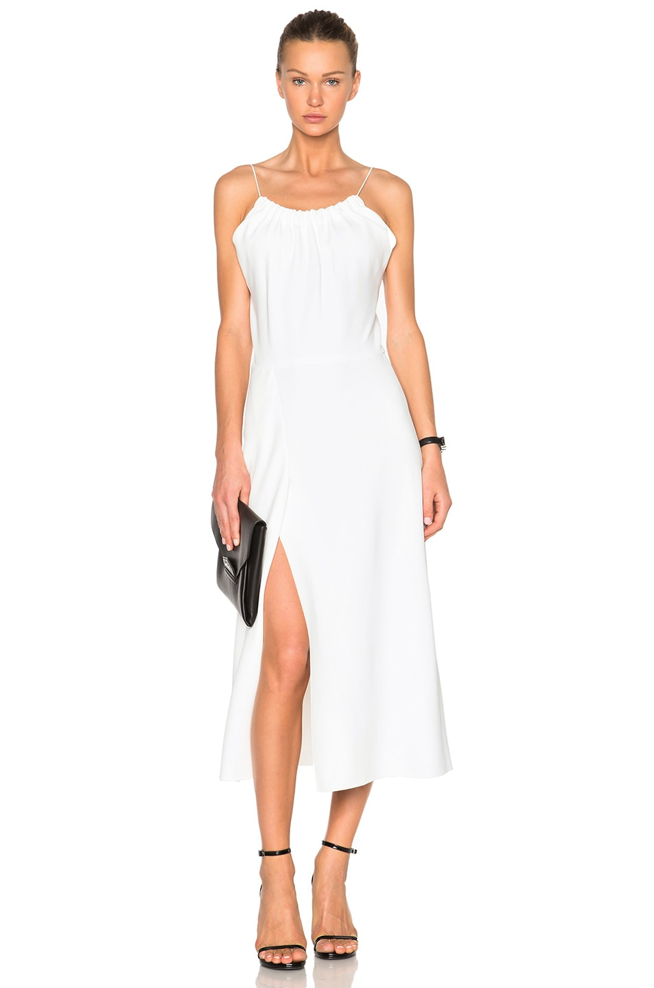 Image 1 of Victoria Beckham Ruched Cami Flared Dress in White