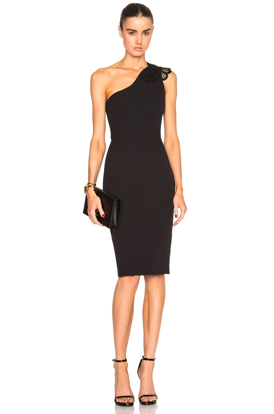 Image 1 of Victoria Beckham Double Crepe & Lace One Shoulder Fitted Dress in Black & Black