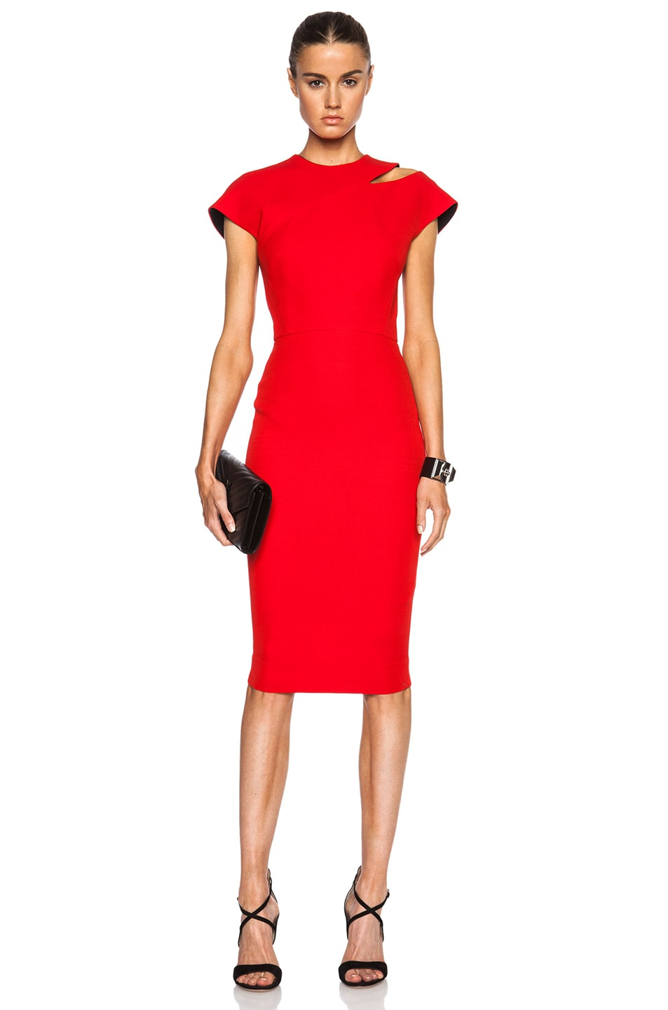1100c74c46742c Image 1 of Victoria Beckham Cap Sleeve Cut Out Dress in Red