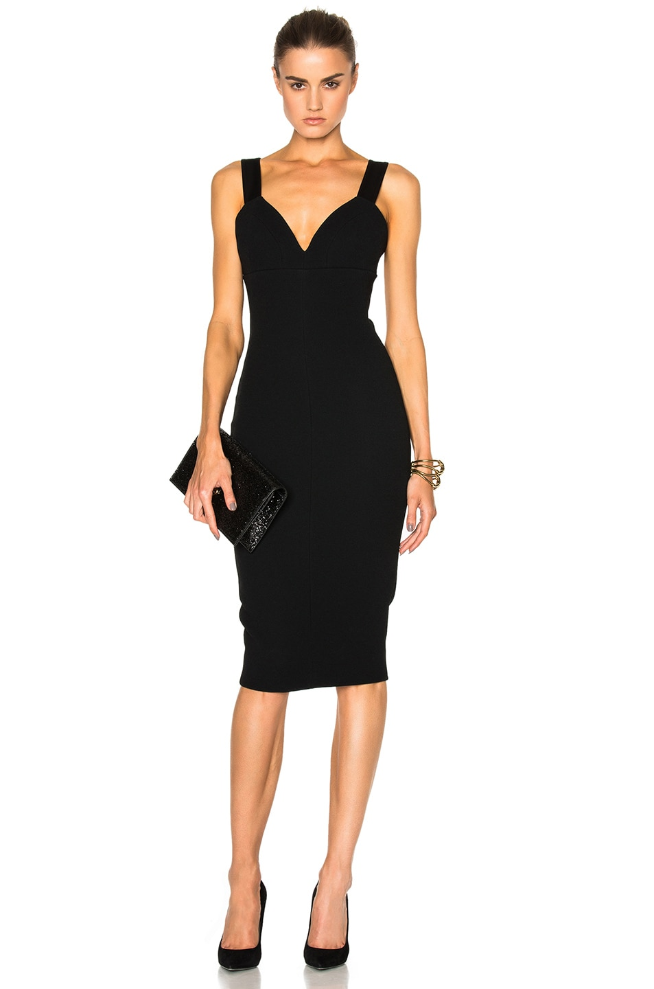 Image 1 of Victoria Beckham Matte Crepe & Satin Cami Fitted Dress in Black
