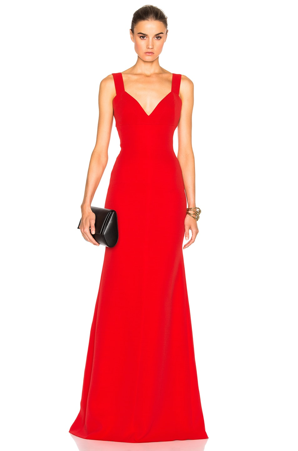 Image 1 of Victoria Beckham Double Crepe Camisole Floor Length Dress in Scarlet Red