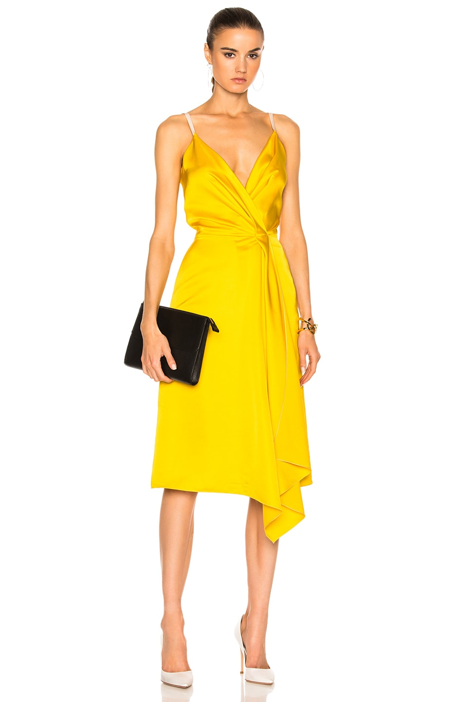 Image 1 of Victoria Beckham Heavy Fluid Silk Wrap Dress in Yellow & Pale