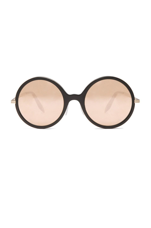 Image 1 of Victoria Beckham Metal Inlay Round 18 Carat Sunglasses in Black