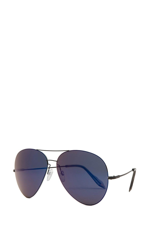 Image 2 of Victoria Beckham Feather Aviator Sunglasses in Purple Night