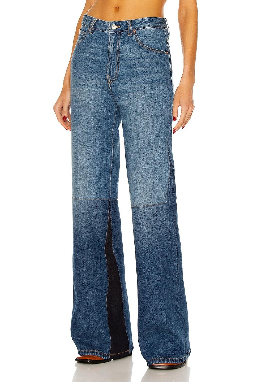 Image 1 of Victoria Beckham Patchwork Flare Jean in Washed Indigo