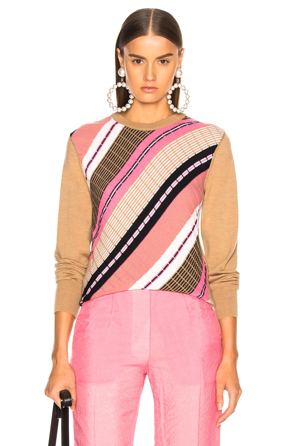 Image 1 of Victoria Beckham Diagonal Stripe Sweater in Camel Multicolor