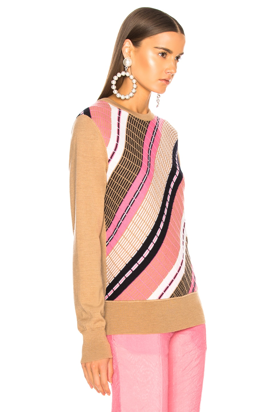 Image 2 of Victoria Beckham Diagonal Stripe Sweater in Camel Multicolor