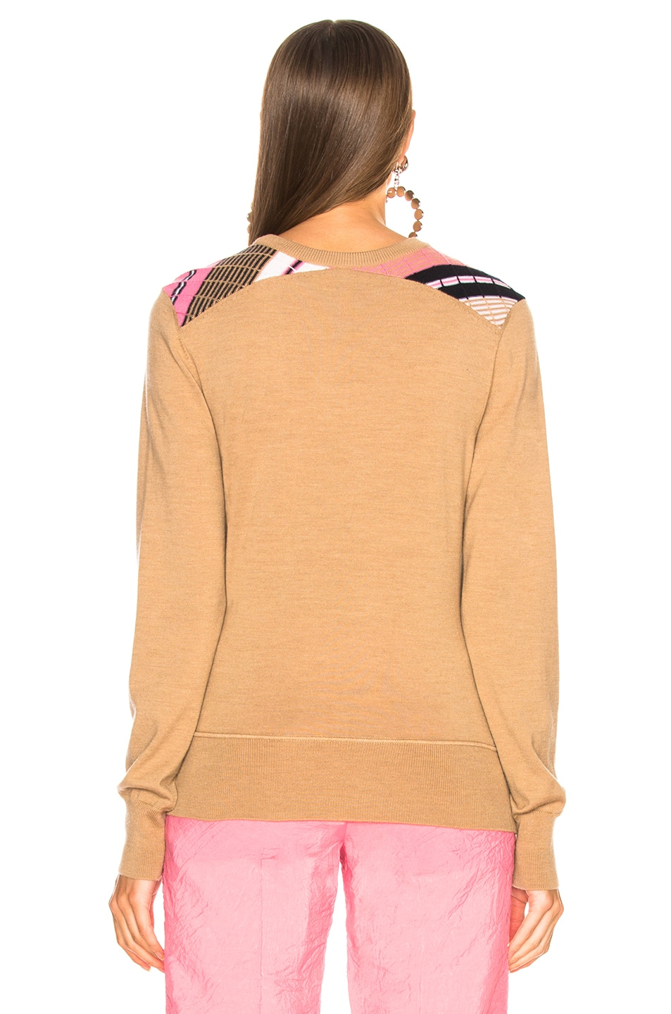 Image 3 of Victoria Beckham Diagonal Stripe Sweater in Camel Multicolor