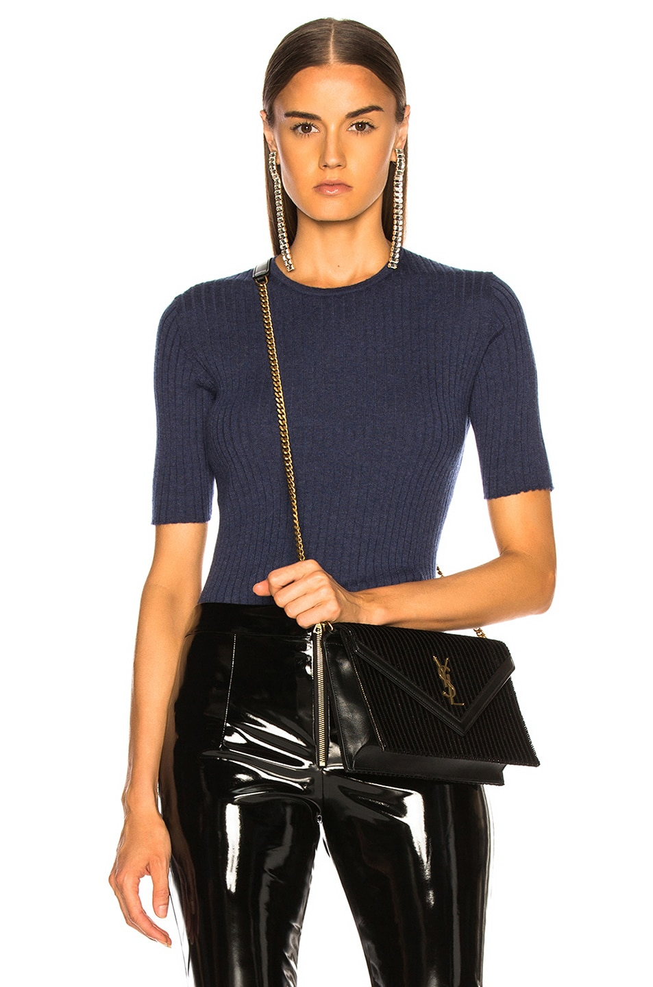 Image 1 Of Victoria Beckham Fine Gauge Cashmere Top In Cornflower Blue Melange
