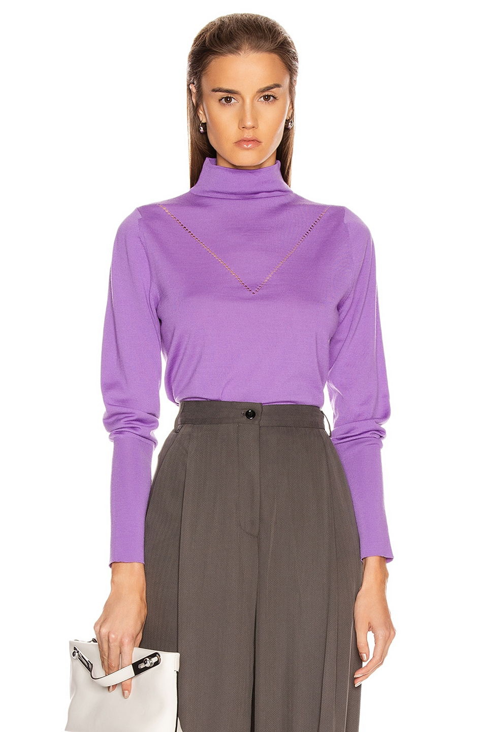Image 1 of Victoria Beckham Ajure HIgh Neck Sweater in Bright Lilac