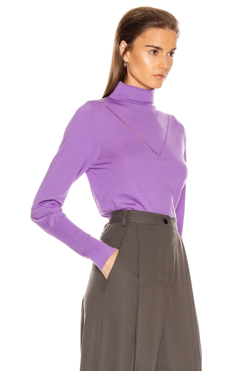 Image 2 of Victoria Beckham Ajure HIgh Neck Sweater in Bright Lilac