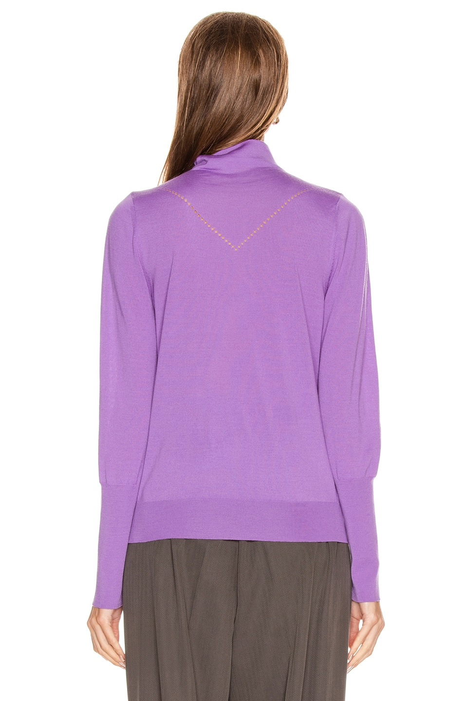 Image 3 of Victoria Beckham Ajure HIgh Neck Sweater in Bright Lilac