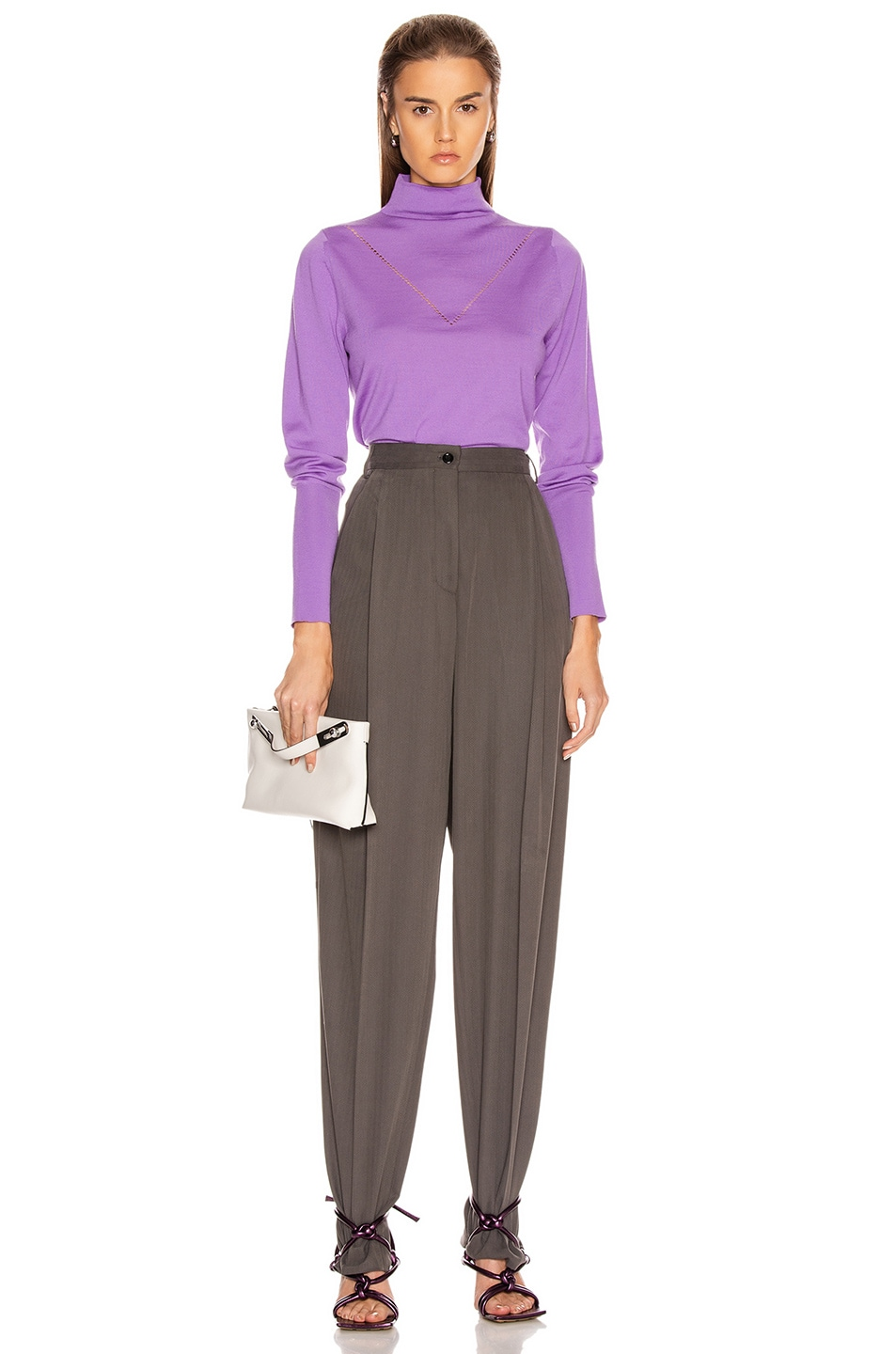 Image 4 of Victoria Beckham Ajure HIgh Neck Sweater in Bright Lilac