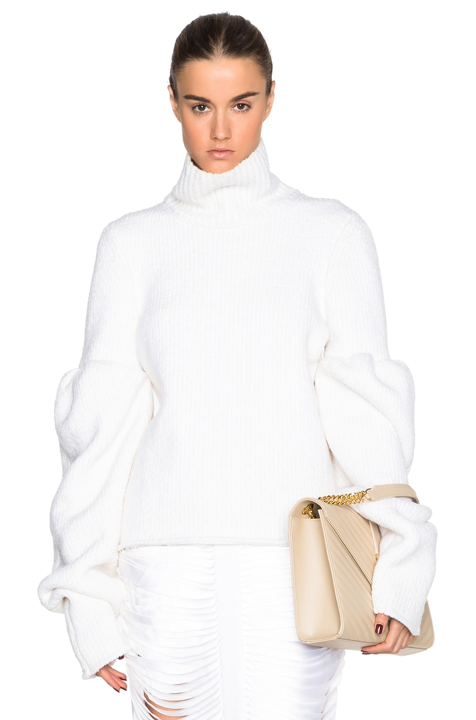 Image 1 of Victoria Beckham Rib Wool Boucle Round Sleeve Jumper in White
