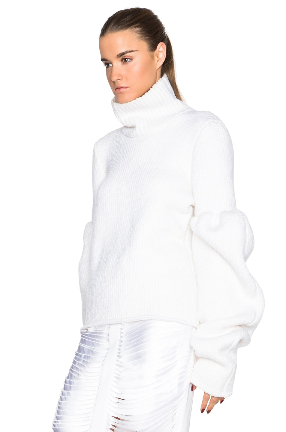 Image 2 of Victoria Beckham Rib Wool Boucle Round Sleeve Jumper in White