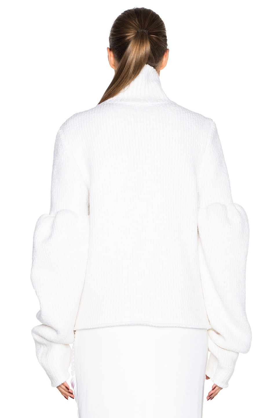 Image 4 of Victoria Beckham Rib Wool Boucle Round Sleeve Jumper in White