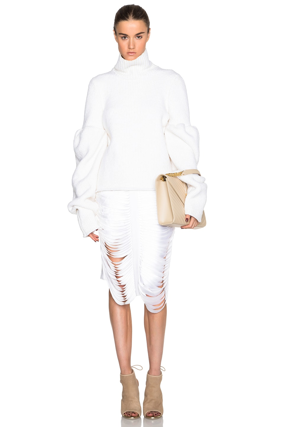 Image 5 of Victoria Beckham Rib Wool Boucle Round Sleeve Jumper in White