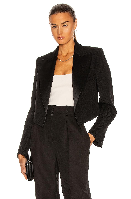 Image 1 of Victoria Beckham Cropped Tux Jacket in Black