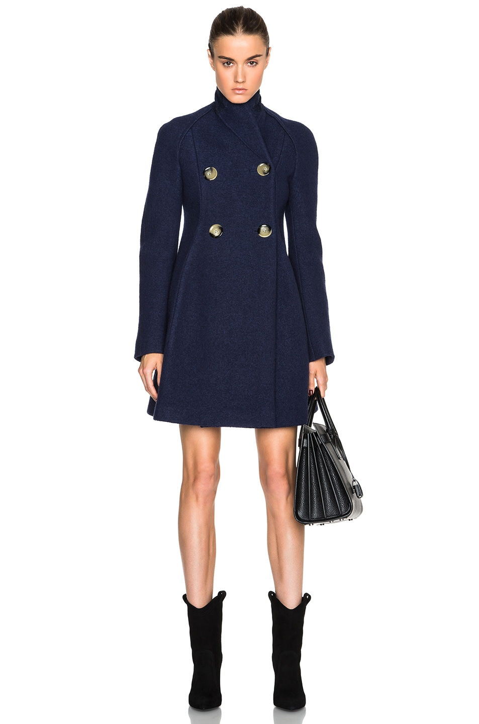 Image 1 of Victoria Beckham Dense Boiled Melange Trapeze Coat in Navy